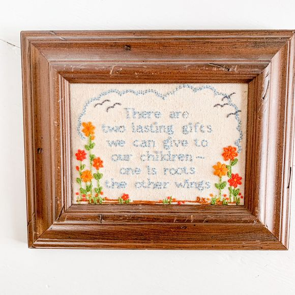 Vintage Other - Vintage Inspirational Cross-Stitch in Wooden Frame